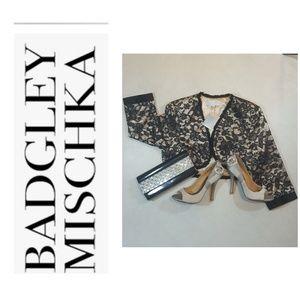 Badgley Mischka lace & beads evening shrug/jacket